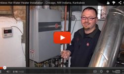 Rheem® tankless hot water heater installation in Chicago and the suburbs