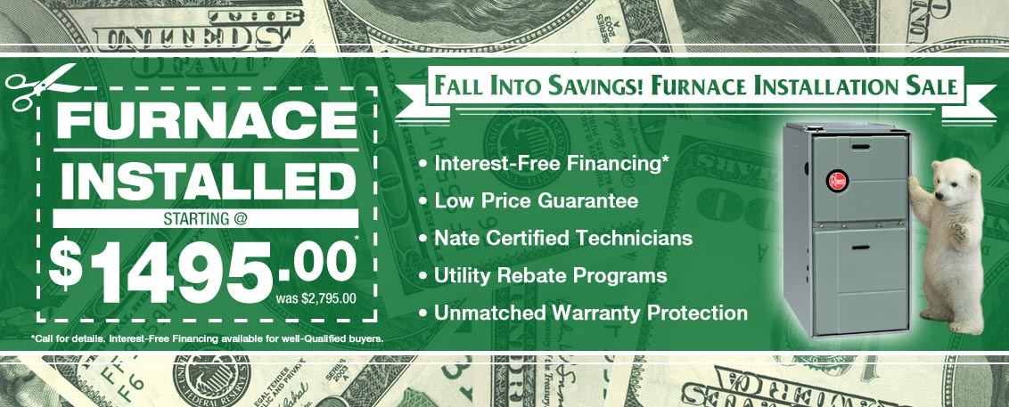 Chicago Furnace installation and replacement sale. Best prices on a Rheem Furnace or Amana Furnace.