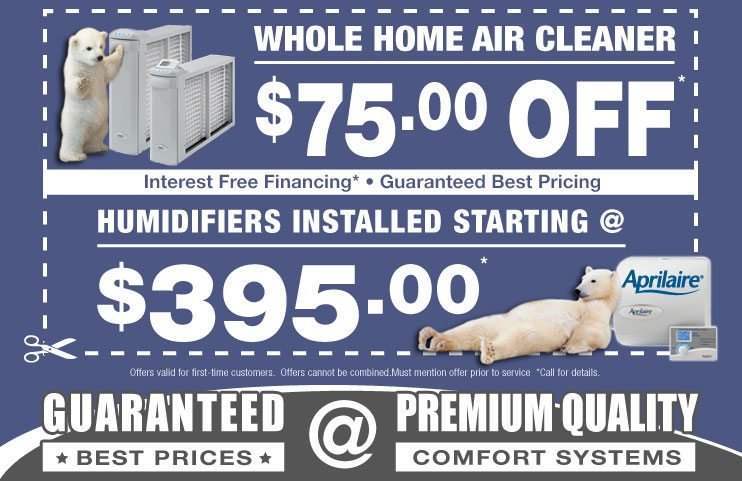 Coupons for Installation of humidifiers dehumidifiers, air cleaner, air purifiers in Chicago, IL