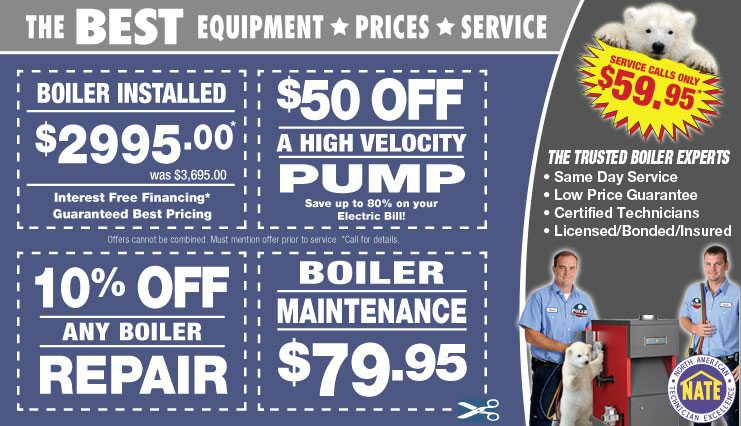 hot water boiler and steam boiler coupons for boiler repair Chicago, new boiler Chicago, and Chicago Boiler cleaning and maintenance