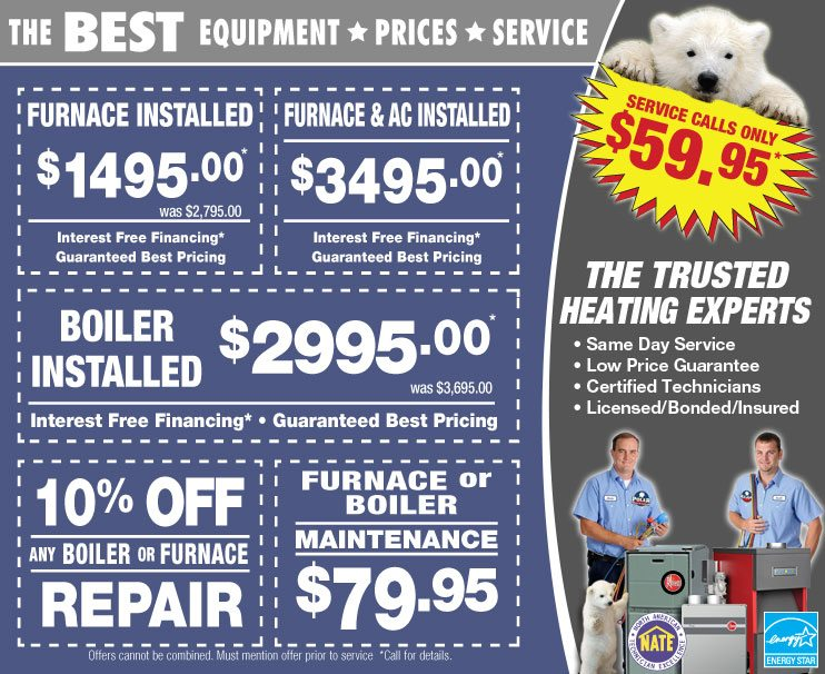 Chicago heating service and product coupons - Boiler, furnace, tankless water heater repair, installation, and maintenance