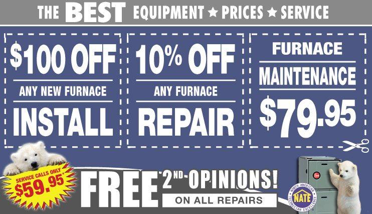 furnace installation, furnace repair, furnace maintenance coupons